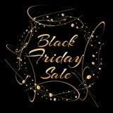Projeto do cartaz da venda de Black Friday com fundo preto, texto do ouro, efeito da faísca do brilho Fotos de Stock Royalty Free
