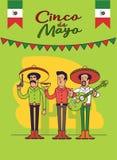 Projeto do cartaz de Cinco De Mayo Caráteres dos mexicanos ajustados Vector o molde com espaço da cópia para sua celebração do fe Fotos de Stock Royalty Free