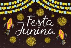 Projeto do cartaz de Festa Junina ilustração do vetor