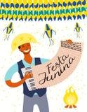 Projeto do cartaz de Festa Junina ilustração stock
