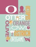 Projeto do cartaz do alfabeto da ilustração da tipografia das palavras da letra O Fotografia de Stock Royalty Free