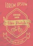 Projeto do cartaz do aluguel das bicicletas do vintage Fotos de Stock