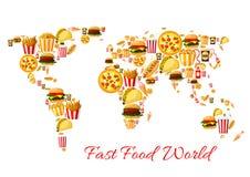 Projeto do cartaz dos desenhos animados do mapa do mundo do fast food ilustração stock
