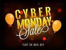 Projeto do cartaz ou da bandeira da venda de segunda-feira do Cyber com 30-80% disconto o ilustração royalty free
