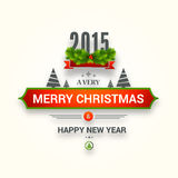 Projeto do cartaz ou de cartão para o ano novo feliz e Chr alegre Fotografia de Stock
