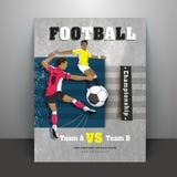 Projeto do cartaz ou do inseto com caráter dos jogadores de futebol, detalhes do fósforo ilustração royalty free
