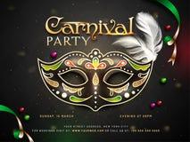 Projeto do cartaz ou do molde do partido do carnaval com máscara e tempo decorativos, detalhes do local de encontro ilustração stock