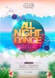 Projeto do cartaz do partido do verão Toda a noite dança ilustração do vetor
