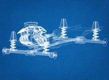 Projeto do chassi e do motor do carro - modelo foto de stock royalty free