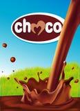 Projeto do chocolate com respingo de derramamento do chocolate Fotos de Stock