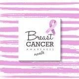 Projeto do câncer da mama com tipografia e fita Fotografia de Stock