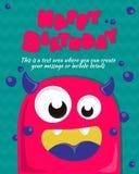 Projeto do convite do cartão do partido do monstro Molde do feliz aniversario Ilustração do vetor Foto de Stock