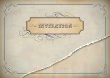 Projeto do convite do vintage com etiqueta, texto e quadro Imagens de Stock Royalty Free