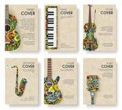 Projeto do convite do inseto da disposição do compartimento da música Grupo de conceito musical da ilustração do ornamento Instru ilustração stock