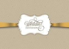 Projeto do convite do vintage com fita do ouro Imagens de Stock Royalty Free