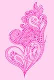 Projeto do coração do doodle do Henna ilustração stock