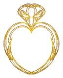 Projeto do coração do ouro Foto de Stock