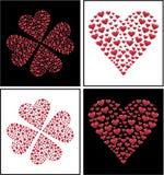 Projeto do coração e coração do cravo-da-índia de 4 folhas dado forma Foto de Stock