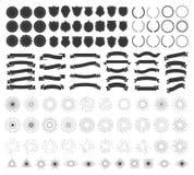Projeto do crachá do moderno Emblema retro, crachás do vintage e coleção do vetor dos elementos do quadro do logotipo ilustração do vetor