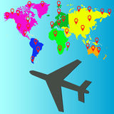 Projeto do curso do avião, ilustração do vetor Fotos de Stock Royalty Free