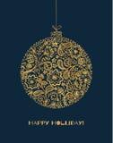 Projeto do desenho do ouro da decoração do ano novo Cartão do Xmas Imagens de Stock Royalty Free