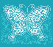 Projeto do Doodle da borboleta de Mehndi Paisley do Henna Imagem de Stock