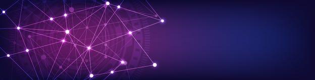 Projeto do encabe?amento ou da bandeira do Web site com fundo geom?trico abstrato e pontos e linhas de conex?o Rede global ilustração do vetor