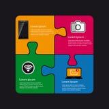 Projeto do enigma da tecnologia com Smartphone, a câmera, o portátil e o símbolo de Wlan - ilustração colorida do vetor ilustração do vetor
