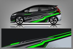 Projeto do envoltório do decalque do carro Projetos de competência do jogo do fundo da listra abstrata gráfica para o veículo, o  ilustração do vetor