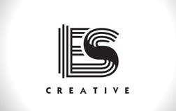 Projeto do ES Logo Letter With Black Lines Linha vetor Illus da letra Fotografia de Stock Royalty Free