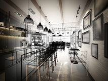Projeto do esboço da cafetaria Foto de Stock
