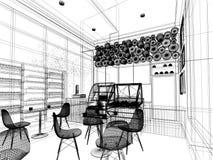 Projeto do esboço da cafetaria, Foto de Stock