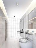 Projeto do esboço do banheiro interior ilustração do vetor