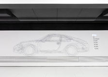 Projeto do esboço do modelo do automóvel 356 no museu de Porsche imagem de stock