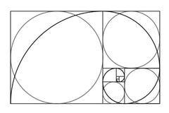 Projeto do estilo de Minimalistic Relação dourada Formas geométricas Círculos na proporção dourada Projeto futurista logo Engrena ilustração do vetor