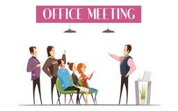 Projeto do estilo dos desenhos animados da reunião do escritório Fotografia de Stock