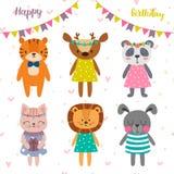 Projeto do feliz aniversario com os animais bonitos dos desenhos animados Cartão engraçado postcard ilustração stock