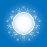 Projeto do floco de neve para o fundo do quadro Ilustração do vetor Teste padrão do inverno Gráfico da forma Cores brancas e azui Foto de Stock Royalty Free