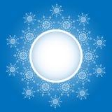 Projeto do floco de neve para o fundo do quadro Ilustração do vetor Teste padrão do inverno Gráfico da forma Cores brancas e azui Imagens de Stock