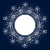 Projeto do floco de neve para o fundo do quadro Ilustração do vetor Teste padrão do inverno Gráfico da forma Cores brancas e azui Foto de Stock