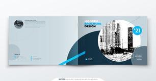 Projeto do folheto da paisagem Folheto cinzento azul do molde da empresa, relatório, catálogo, compartimento Disposição do folhet ilustração royalty free
