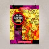 Projeto do folheto do negócio com garatujas detalhadas Imagem de Stock
