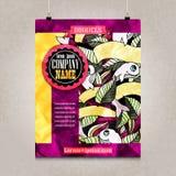 Projeto do folheto do negócio com garatujas detalhadas Fotografia de Stock Royalty Free