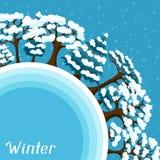 Projeto do fundo do inverno com o sumário estilizado Imagens de Stock