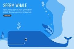 Projeto do Informação-gráfico do vetor e do fundo da baleia de esperma ilustração royalty free