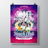 Projeto do inseto do partido da praia do verão do vetor com elementos tipográficos e da música no fundo da paisagem do oceano Foto de Stock