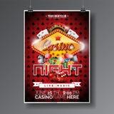 Projeto do inseto do partido do vetor em um tema do casino com microplaquetas e cartões no fundo escuro dos símbolos Imagem de Stock Royalty Free