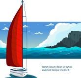 Projeto do inseto do yacht club com barco de vela ilustração royalty free