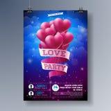 Projeto do inseto do partido do amor do dia de Valentim do vetor com tipografia e coração no fundo vermelho Molde do cartaz da ce Foto de Stock Royalty Free