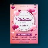 Projeto do inseto do partido do dia de Valentim do vetor com tipografia e coração no fundo cor-de-rosa Molde do cartaz da celebra Fotografia de Stock